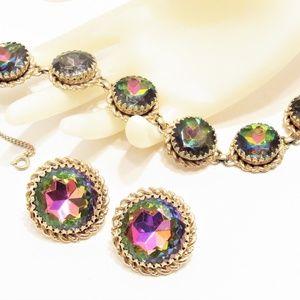 Vintage Schiaparelli Rivoli Bracelet Earrings Set